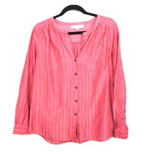 LOFT coral button down women career top Small